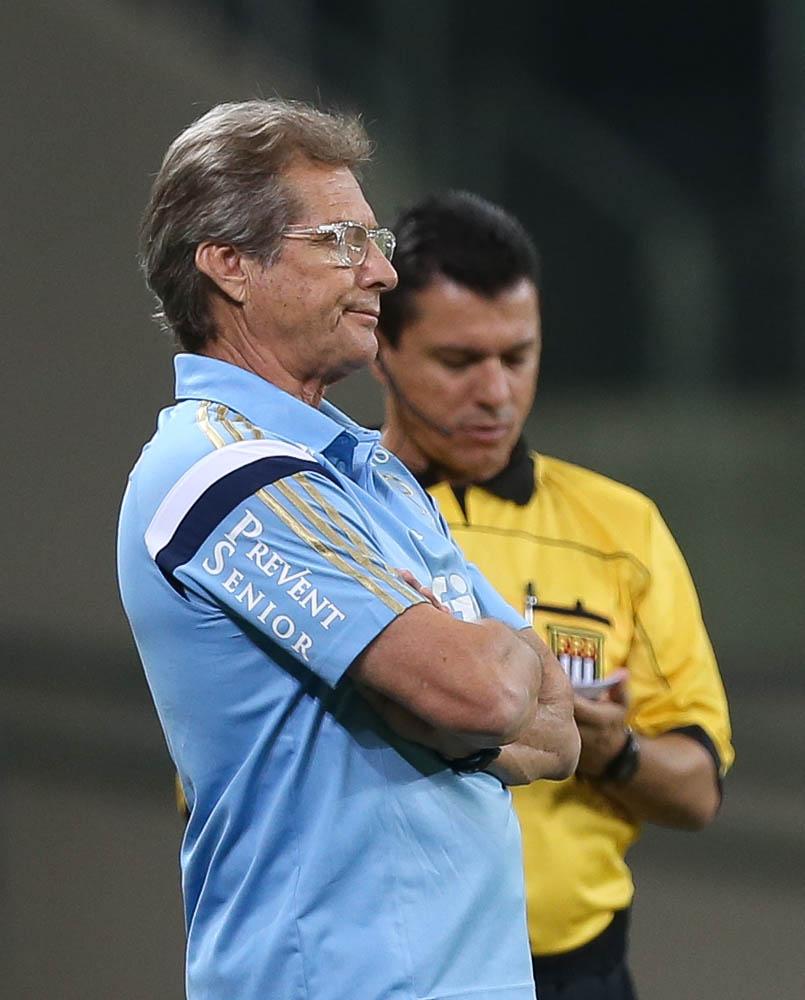 Oswaldo de Oliveira tenta corrigir erros da defesa (Cesar Greco/Ag. Palmeiras/Divulgação)