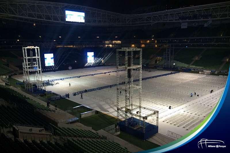 O Allianz Parque já está preparado para os shows do Rei Roberto Carlos neste final de semana. (Divulgação)