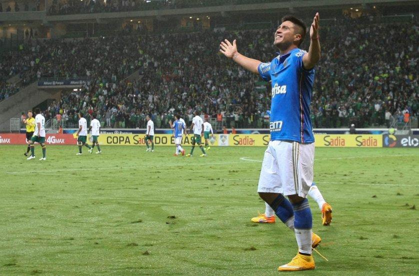 Cristaldo virou o jogo e fez seu segundo gol contra o Sampaio Corrêa. (Cesar Greco/Ag. Palmeiras/Divulgação)