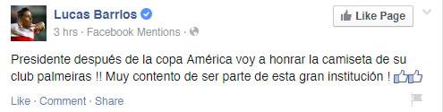 Lucas Barrios anuncia acordo com o Palmeiras. (Reprodução /Facebook)