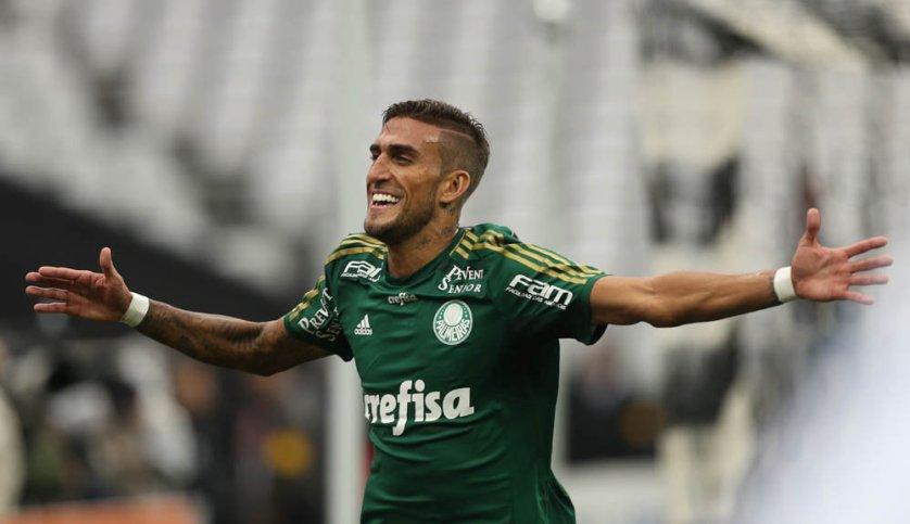 Rafael Marques comemora 1º gol do Derby. (Cesar Greco/Ag. Palmeiras/Divulgação)