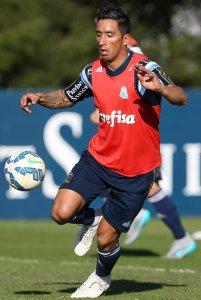 Lucas Barrios treinou pela primeira vez com seus novos companheiros nesta terça (14). (Cesar Greco/Ag.Palmeiras/Divulgação)
