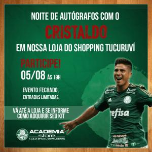 Cristaldo estará a partir das 19h30 na loja oficial do Verdão do Shopping Tucuruvi. (Divulgação)