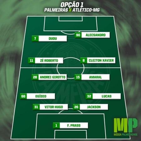 Opção 1: 4-4-2 - Com Amaral, Andrei Girotto, Zé Roberto e Cleiton Xavier