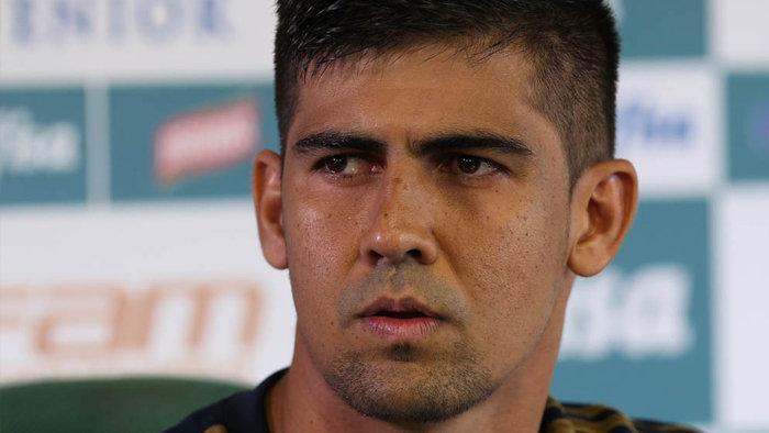 Leandro Almeida concedeu entrevista coletiva nesta quarta-feira (05). (Cesar Greco/Ag. Palmeiras/Divulgação)