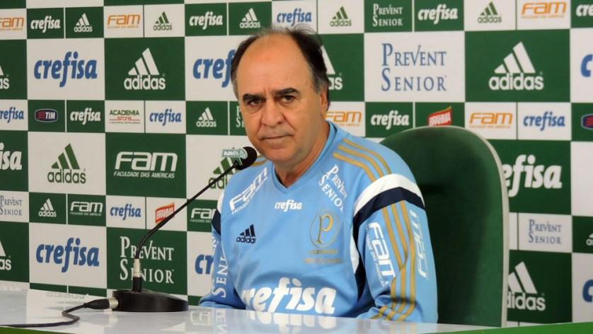 Marcelo Oliveira concedeu entrevista coletiva nesta sexta-feira (28). (Fabio Menotti/Ag.Palmeiras/Divulgação)