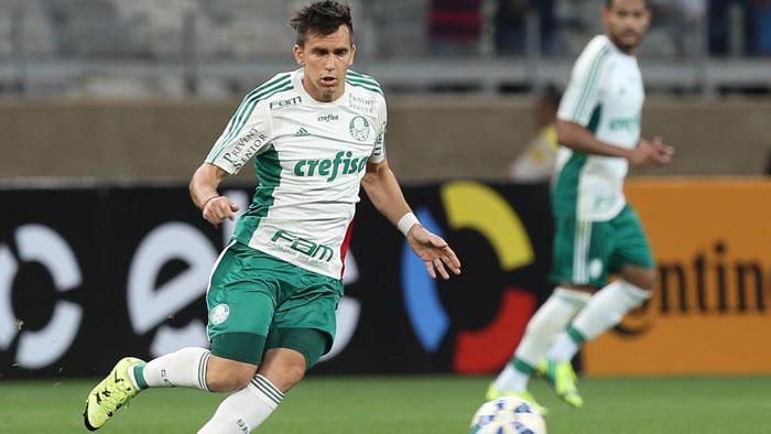 Mouche voltou a vestir a camisa do Verdão após longo tempo sem atuar. (Cesar Greco/Ag.Palmeiras/Divulgação)