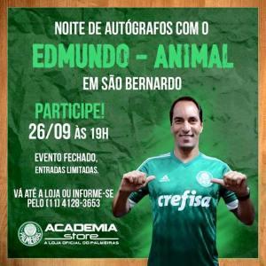 Edmundo fará uma sessão de autógrafos e fotos com torcedores alviverdes. (Divulgação)