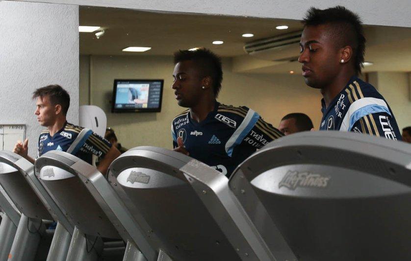 Jogadores treinaram em uma academia perto do hotel alviverde no Rio de Janeiro. (Cesar Greco/Ag. Palmeiras/Divulgação)