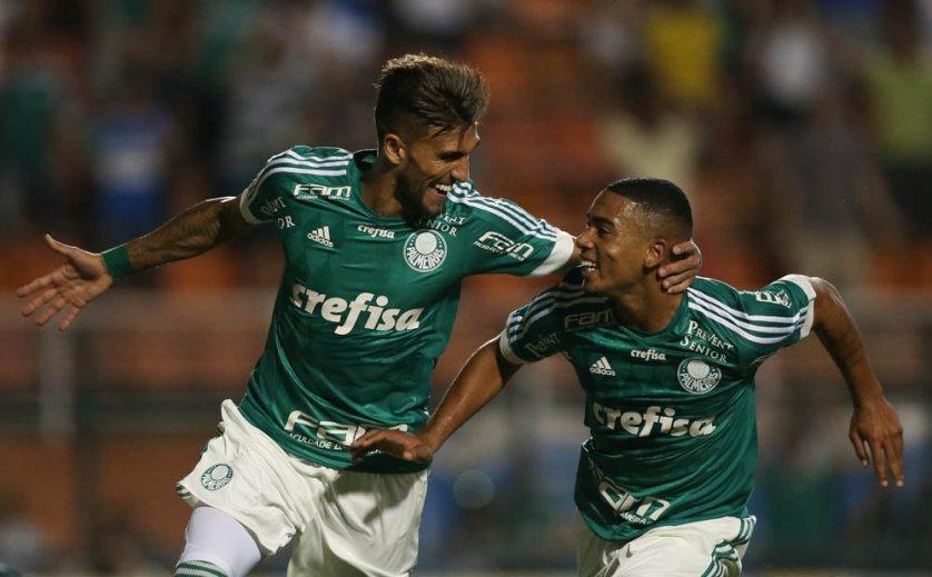 Com assistência de Gabriel Jesus, Rafael Marques marcou o terceiro gol do Verdão. (Cesar Greco/Ag. Palmeiras/Divulgação)