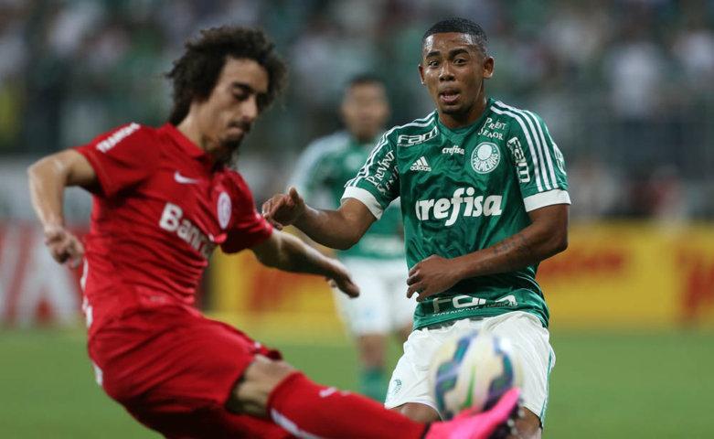 Substituído na segunda etapa, Gabriel Jesus comemorou vaga nas semis. (Cesar Greco/Ag.Palmeiras/Divulgação)