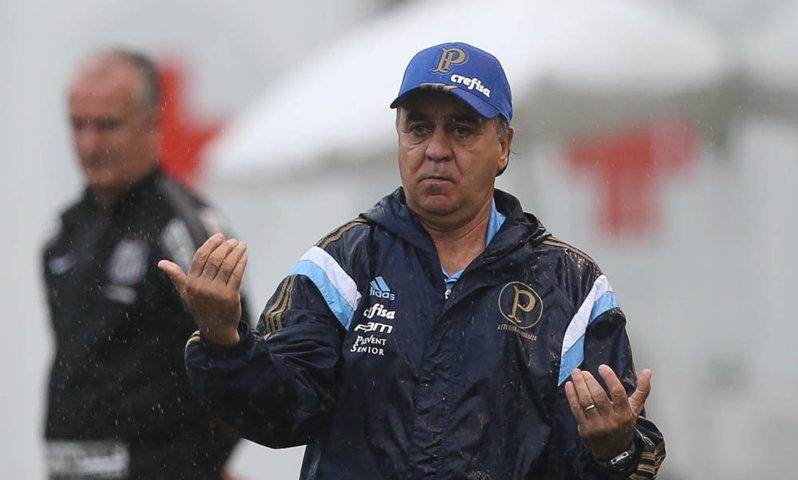 O técnico Marcelo Oliveira falou em entrevista coletiva após a partida contra o Santos. (Cesar Greco/Ag. Palmeiras/Divulgação)