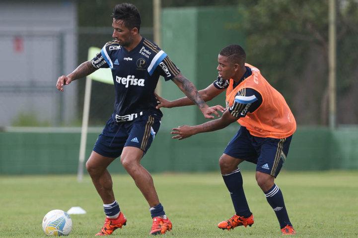 Na segunda parte do treino, o elenco realizou atividades no gramado. (Cesar Greco/Ag. Palmeiras/Divulgação)