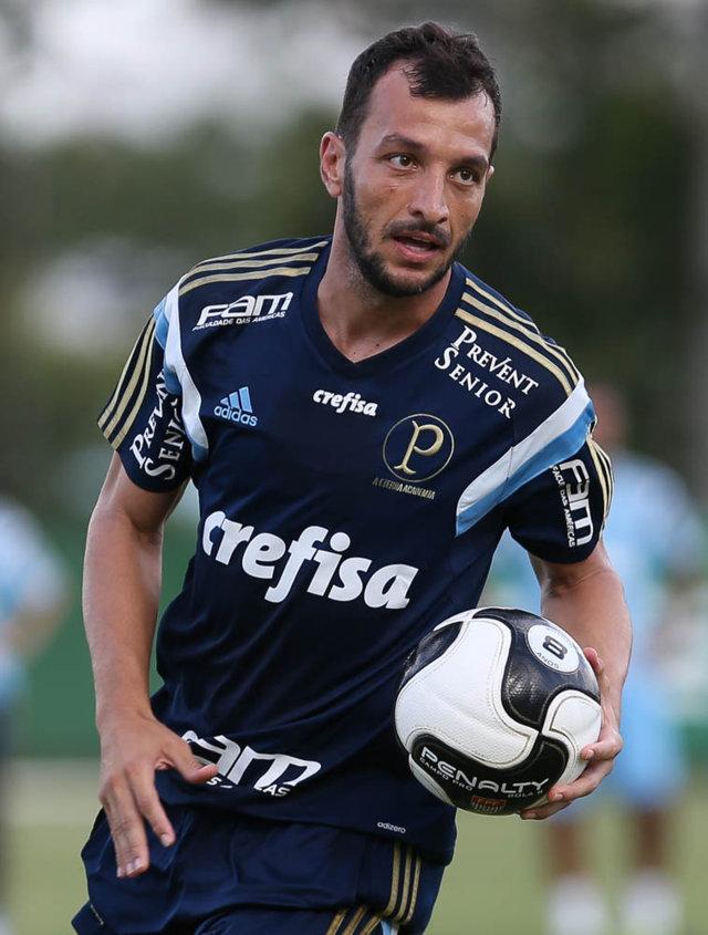 Zagueiro Edu Dracena será desfalque das próximas atividades com bola, previsão de retorno é de três semanas. (Cesar Greco/Ag.Palmeiras/Divulgação)