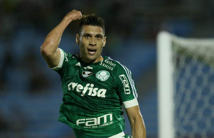 Moisés anotou o segundo gol alviverde nesta quarta-feira (20). (Cesar Greco/Ag.Palmeiras/Divulgação)