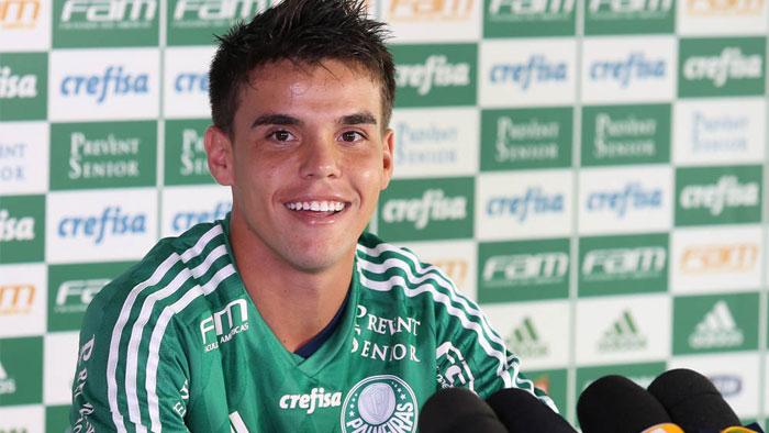 Voltante Rodrigo foi apresentado nesta segunda-feira (11). (Cesar Greco/Ag. Palmeiras/Divulgação)