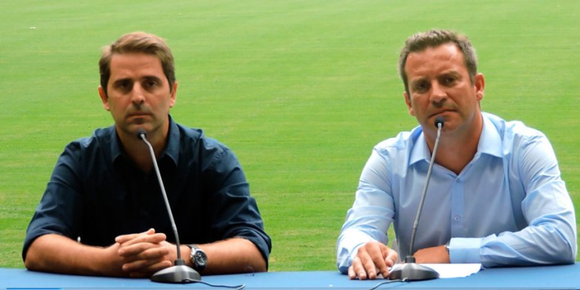 Fabio Camara, da World Sports, e Alexandre Costa, gerente geral do Allianz Parque. (Mídia Palmeirense)