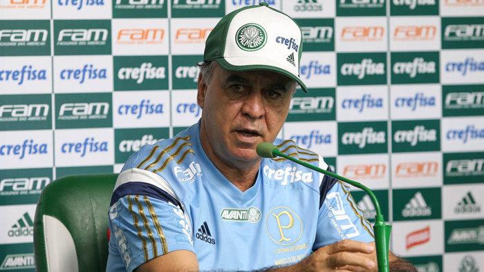 Em entrevista coletiva, o técnico Marcelo Oliveira comemorou o retorno ao Allianz Parque. (Cesar Greco/Ag. Palmeiras/Divulgação)
