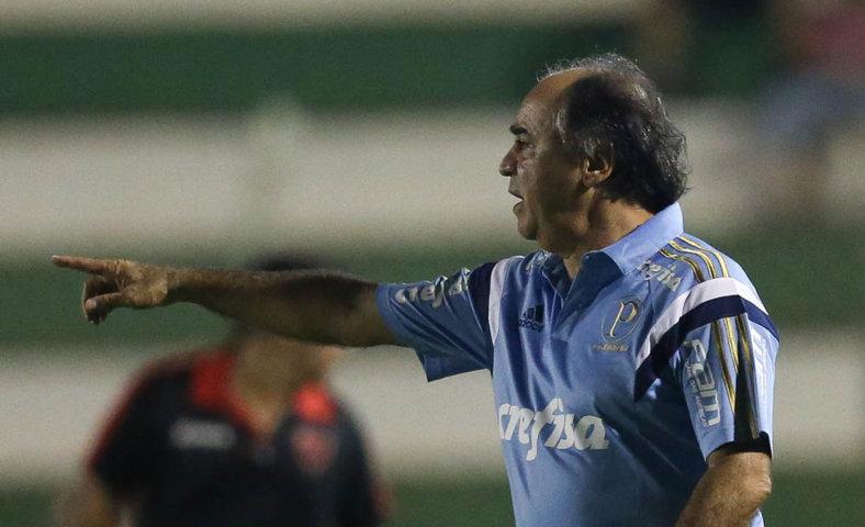 Na coletiva após o fim do jogo, Marcelo Oliveira pediu mais tranquilidade na hora da finalização. (Cesar Greco/Ag. Palmeiras/Divulgação)