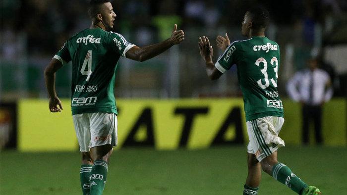 Vitor Hugo e Gabriel Jesus marcaram na goleada sobre o XV de Piracicaba. (Cesar Greco/Ag. Palmeiras/Divulgação)