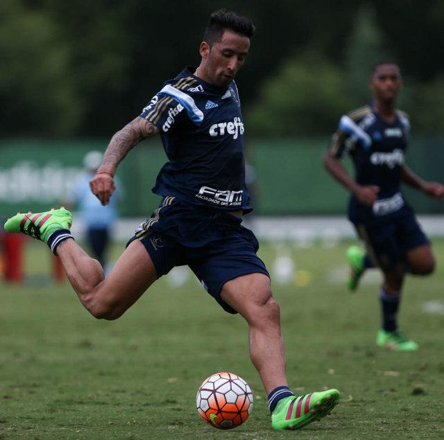 O atacante Lucas Barrios vai defender a Seleção do Paraguai contra as equipes de Equador e Brasil. (Cesar Greco/Ag. Palmeiras/Divulgação)
