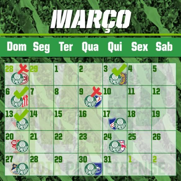 Calendário Março