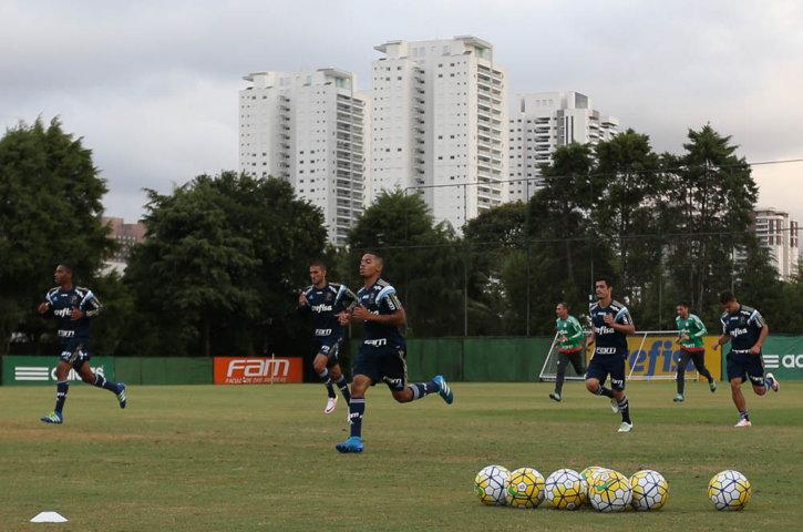 Elenco realizou atividades no campo e na sala de musculação. (Cesar Greco/Ag.Palmeiras/Divulgação)