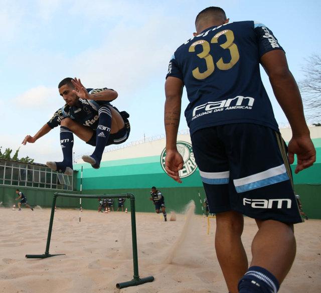 Grupo alviverde treinou na tarde desta sexta-feira (29), na Academia de Futebol. (Cesar Greco/Ag. Palmeiras/Divulgação)