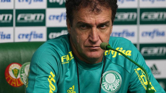 Cuca concedeu entrevista coletiva nesta sexta-feira (09) na Academia de Futebol. (Cesar Greco/Ag.Palmeiras/Divulgação)