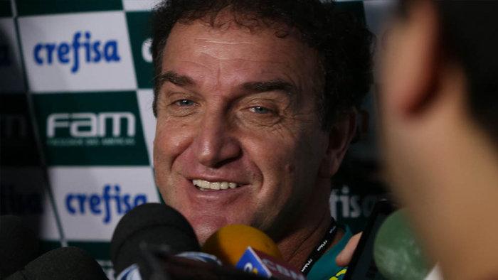 Cuca concedeu entrevista coletiva na Academia de Futebol nesta terça-feira (31). (Cesar Greco/Ag.Palmeiras/Divulgação)