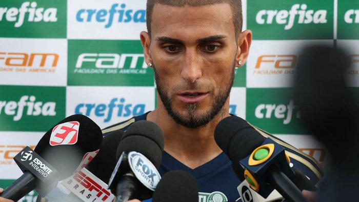 Rafael Marques concedeu coletiva após jogo-treino com Guarani. (Cesar Greco/Ag.Palmeiras/Divulgação)