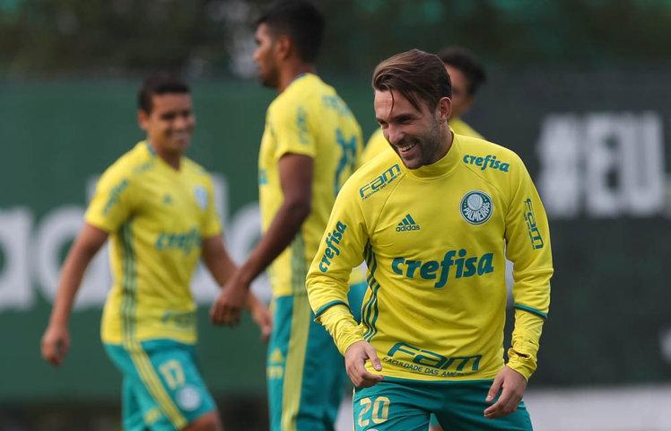 Allione voltou a ser relacionado após operação no joelho esquerdo. (Cesar Greco/Ag.Palmeiras/Divulgação)