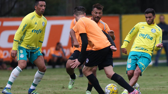 Lucas Barrios foi o autor do gol alviverde no jogo-treino com o Nacional.(Cesar Greco/Ag.Palmeiras/Divulgação)