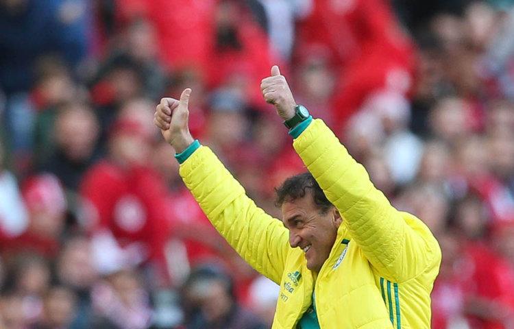 O técnico Cuca elogiou a postura de sua equipe na vitória contra o Internacional. (Cesar Greco/Ag Palmeiras/Divulgação)
