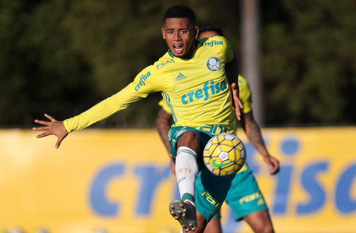 Gabriel Jesus marcou um gol no jogo-treino desta quarta-feira (13). (Cesar Greco/Ag Palmeiras/Divulgação)