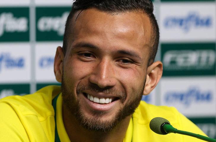 Após o jogo-treino desta quarta-feira (13), Leandro Pereira concedeu entrevista coletiva na Academia de Futebol. (Cesar Greco/Ag Palmeiras/Divulgação)