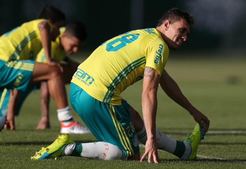 O elenco do Verdão fez treino técnico nesta quinta-feira (28). (Cesar Greco/Ag.Palmeiras/Divulgação)