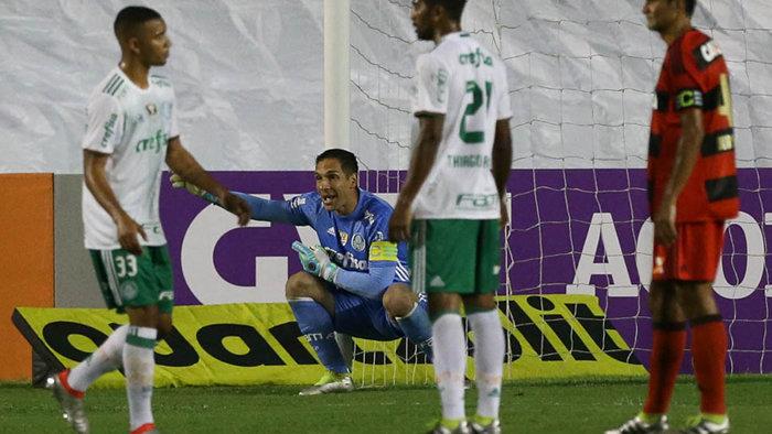 Fernando Prass comemorou mais uma vitória do Palmeiras no Brasileirão. (Cesar Greco/Ag.Palmeiras/Divulgação)