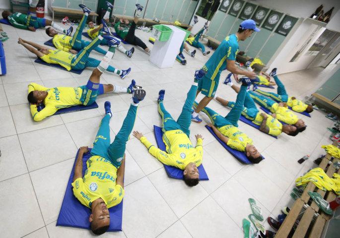 O elenco se reapresentou nesta terça (09). (Cesar Greoc/Ag.Palmeiras/Divulgação)