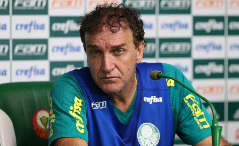 O técnico Cuca concedeu entrevista coletiva após o treino desta sexta-feira (23).(Cesar Greco/Ag Palmeiras/Divulgação)