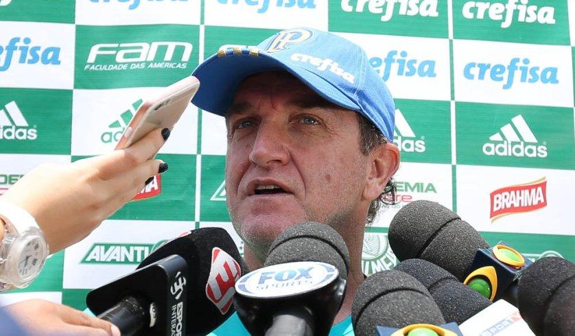 O técnico Cuca concedeu entrevista coletiva após o treino desta sexta-feira (16). (Cesar Greco/Ag Palmeiras/Divulgação)