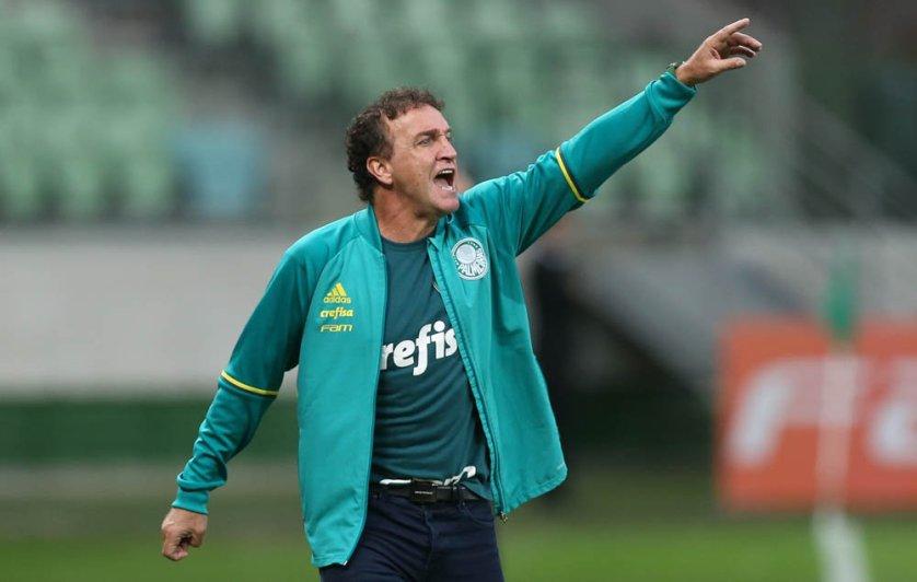 'Entendemos que tínhamos de ter uma referência', explicou Cuca sobre a entrada de Leandro Pereira no intervalo. (Cesar Greco/Ag Palmeiras/Divulgação)