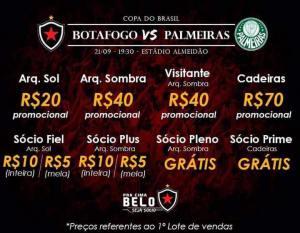 Botafogo-PB divulgou os valores promocionais dos ingressos para o confronto com o Palmeiras. (Divulgação)