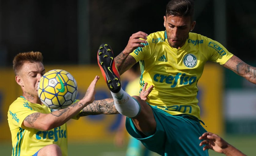 Após o treino, o técnico Cuca divulgou a lista dos relacionados para enfrentar o Figueirense. (Cesar Greco/Ag Palmeiras/Divulgação)