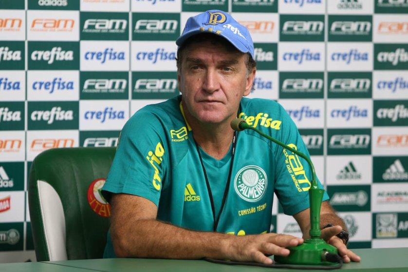 Cuca concedeu entrevista coletiva na Academia de Futebol nesta sexta-feira (11). (Cesar Greco/Ag.Palmeiras/Divulgação)