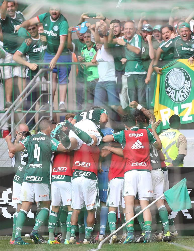 Dudu marcou no segundo tempo e fez a festa da torcida no Allianz Parque. (Cesar Greco/Ag Palmeiras/Divulgação)