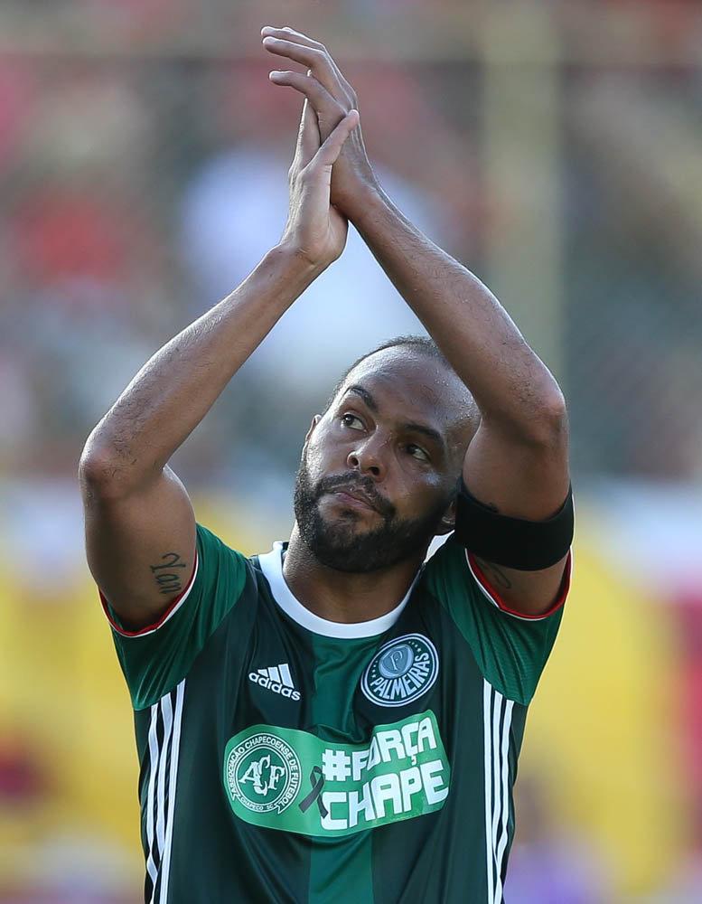Alecsandro marcou o gol da virada do Palmeiras sobre o Vitória no último domingo (11). (Cesar Greco/Ag Palmeiras/Divulgação)