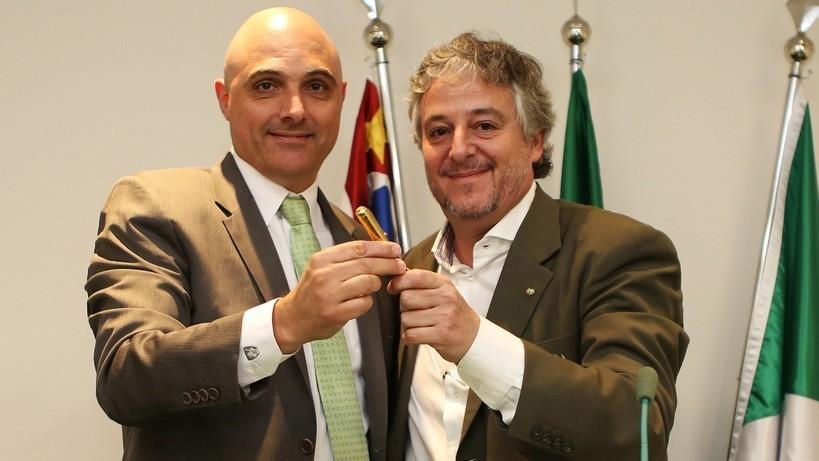 O presidente Maurício Galiotte iniciou oficialmente sua gestão à frente da Sociedade Esportiva Palmeiras. (Fabio Menotti/Ag.Palmeiras/Divulgação)