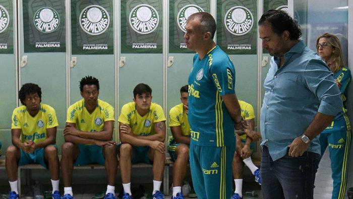 O elenco palmeirense teve o primeiro contato com o técnico Eduardo Baptista. (Cesar Greco/Ag Palmeiras/Divulgação)