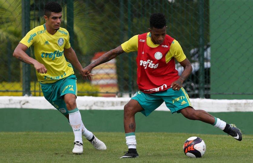 O elenco alviverde treinou na manhã desta terça-feira (17). (Cesar Greco/Ag Palmeiras/Divulgação)